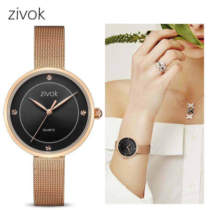 где купить zivok Fashion Women Watches Top Brand Luxury Quartz Wrist Watch Clock Women Relogio Feminino Rose Gold Couple Lovers Watch xfcs по лучшей цене