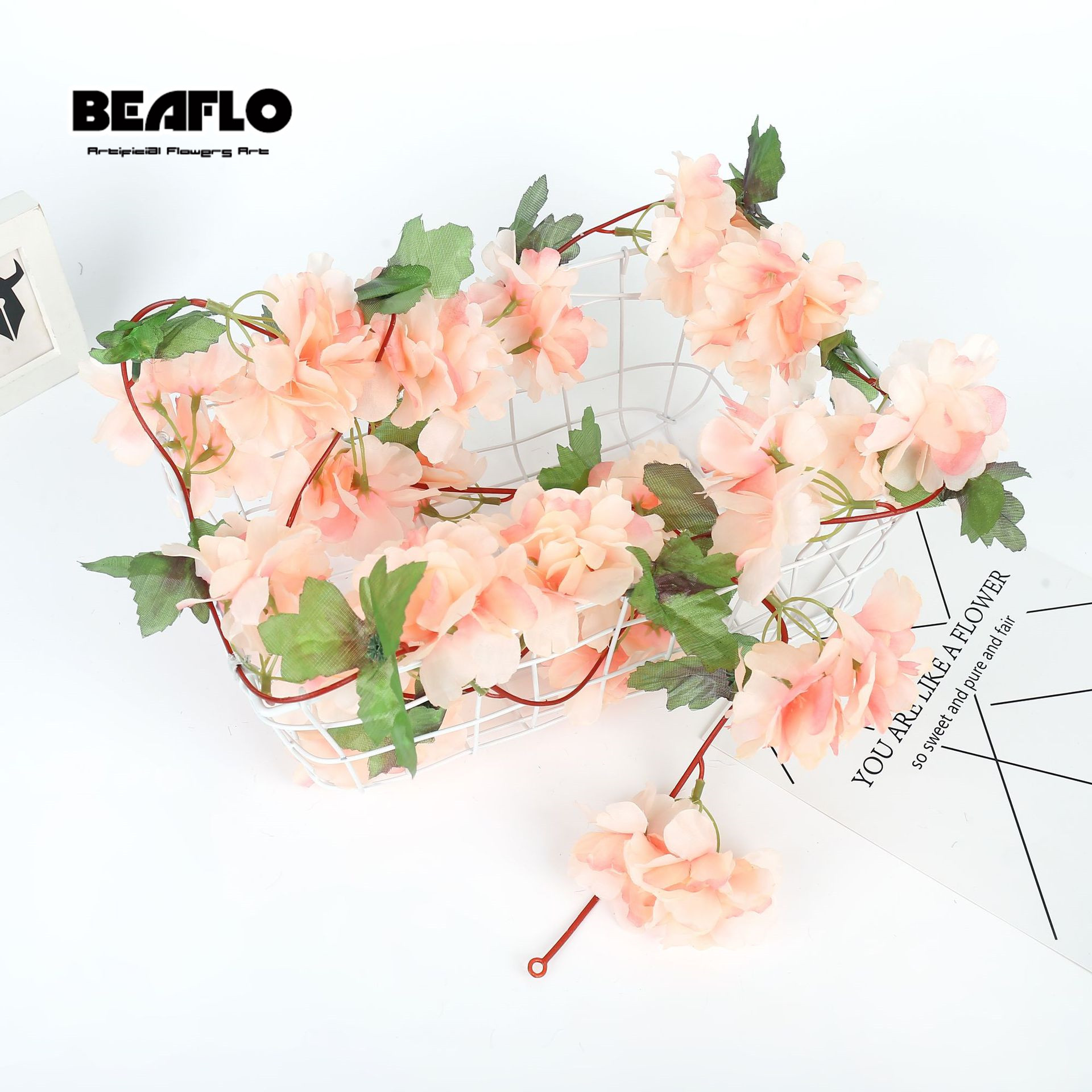 Silk Roses Artificial Flowers Rattan String Vine With Green Leaves For Hanging Garland Wall 4