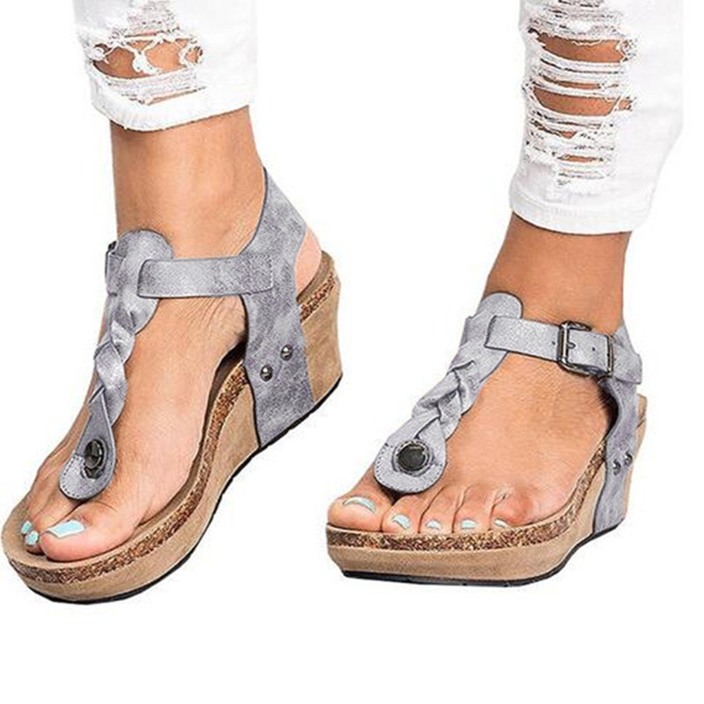 2019 Frauen Gladiator Sandalen Keile Sommer Schuhe Schnalle Plattform Sandalen Frauen Casual Strand Sandalen Schuhe