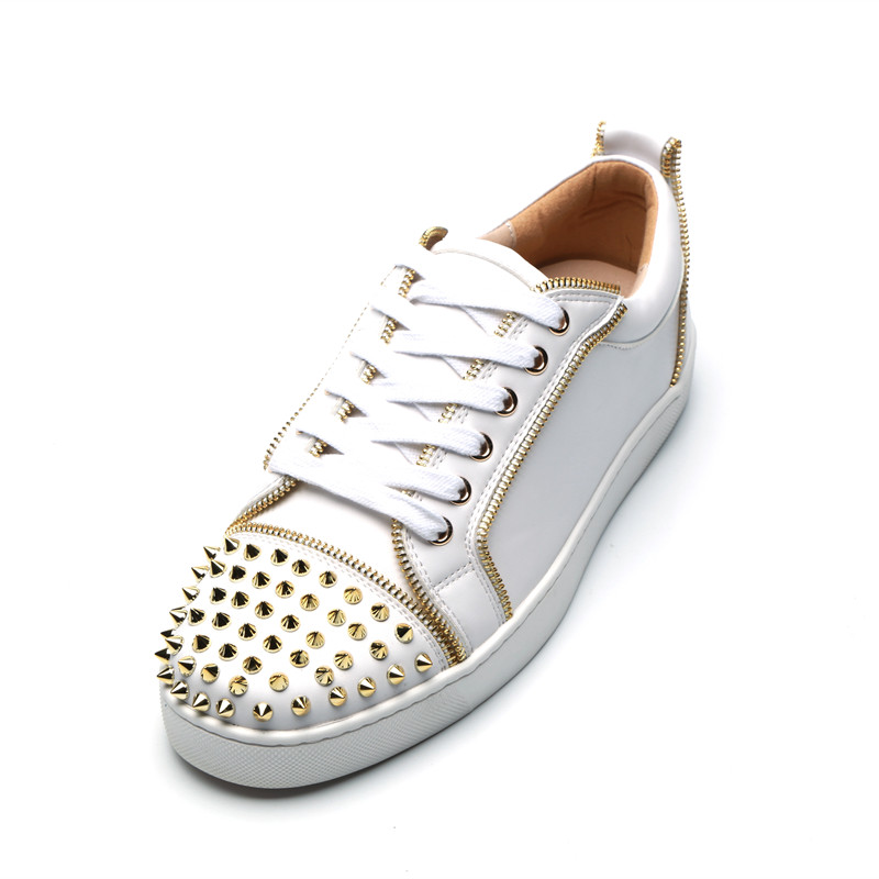 Qianruiti 2019 Men Gold Rivet Flat Low Top Sneakers Zip Trim Round Toe Lace  up Men Spike Runway Chaussures Hommes -in Men s Vulcanize Shoes from Shoes  on ... 60a9dbe01567