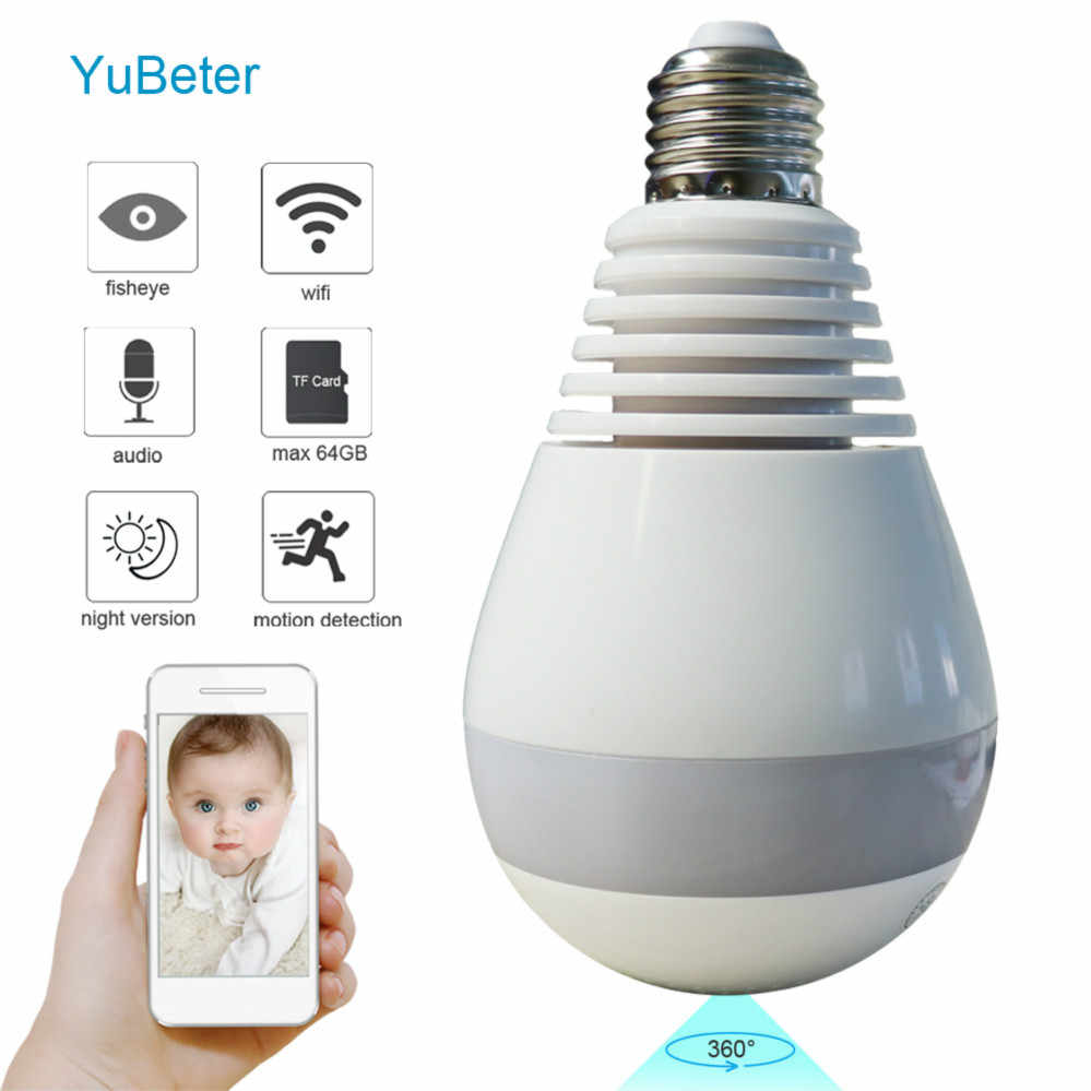 YuBeter 1.3mp Panoramic Wifi Cameras Bulb 960p IP Network Camera Lamp Home Security Video Surveillance Two Way Talk Night Vision