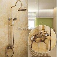Wysyłka Za Darmo Wodospad Prysznic Zestaw Luxury Design Ceramiczne Prysznic Mosiądzu Kran Antyczny Brąz Wykończenie Domu Poprawy GI243