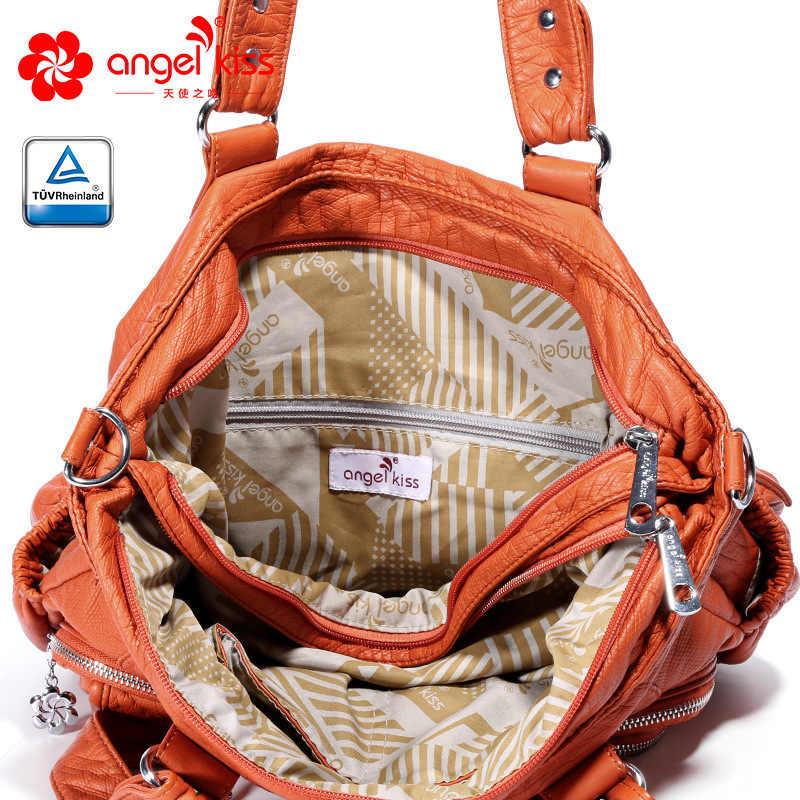 Angelkiss/Брендовые женские сумочки с эффектом потертости из искусственной кожи, женские сумки через плечо, сумки-Хобо для женщин, высококачественные сумки-мессенджеры, женские кожаные сумки