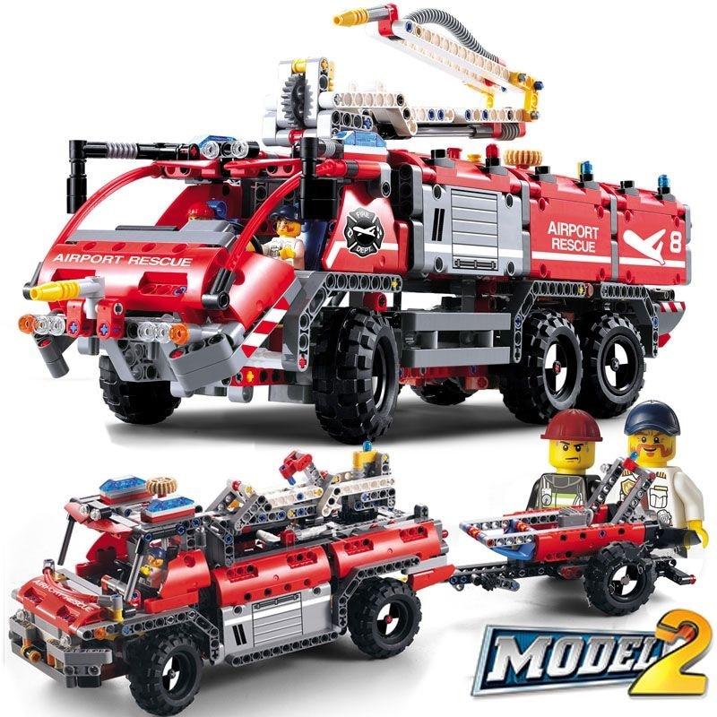 Decool City 3371 1110pcs Airport Rescue Vehicle Technic 911 Fire Engine Car Firefighter Building Blocks Bricks Compatible 42068