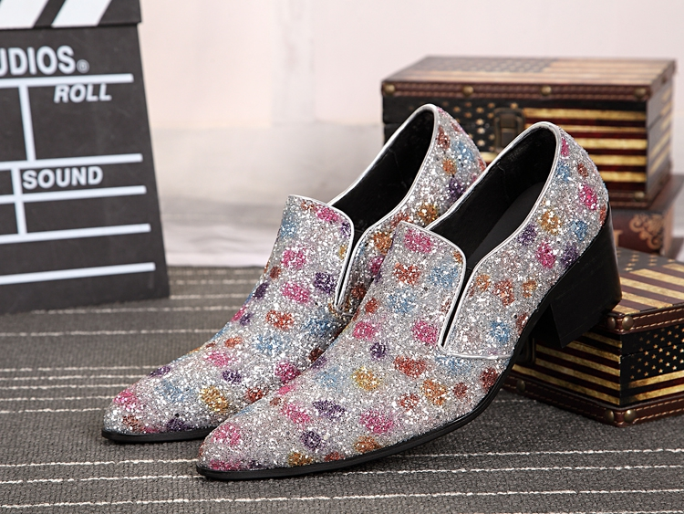 European Wedding Shoes Men Slip On Leather Elevator Mens Dress Formal Oxfords Sequined Oxford For In From