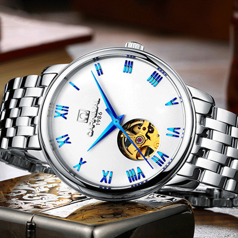 Carnival Blue Ocean Fashion Casual Designer Stainless Steel Men Skeleton Watch Mens Watches Top Brand Luxury Automatic Watch Clo mce top brand mens watches automatic men watch luxury stainless steel wristwatches male clock montre with box 335