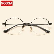 NOSSA 2018 Vintage חצי מסגרת מתכת משקפיים מסגרות אופנה מקרית גברים נשים נקה עדשה אופטית משקפיים מרשם משקפיים