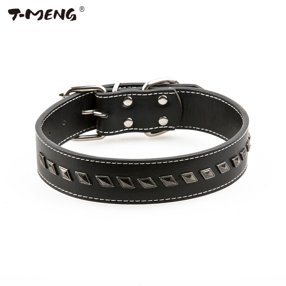 작은 중간 개를위한 T-MENG 최고 품질 Pu 가죽 개 목걸이 조정 가능한 크기 섬세한 리벳 스파이크 애완 동물 제품 벨트 Accessoire