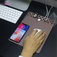 Storage Non-slip Multi-function Wireless Charger Mouse Pad Qi Charging MousePad/Mat For Iphone 8/S8 Holder Stand