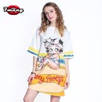 7mang 2019 Summer Streetwear Cartoon Girl Tshirt Loose Sequins Long Orange T Shirt Short Sleeve Harajuku Kwaii T Shirts 0308