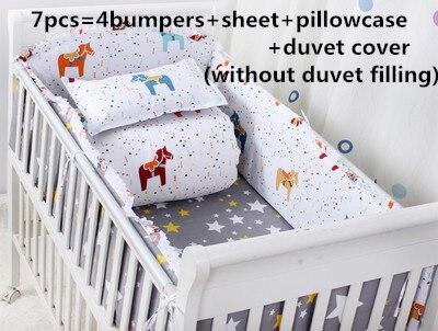 Promotion! 6/7PCS Baby bed linen.crib bedding.100% cotton baby bedding crib set ,120*60/120*70cm