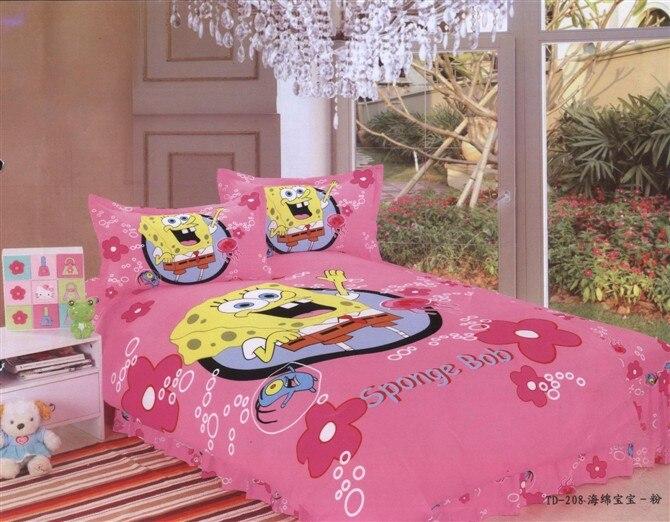 Spongebob Print Bedding Single Twin Size Bed Quilt Duvet Cover Set Bedclothes Girl S Bedroom Decoration Cotton