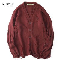 MUSVER Ripped Buttoned Cardigan Sweater Men 2019 Fashion Winter Oversized High Street Hole Knitted Solid Hip Hop Male Sweaters