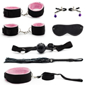 7 pcs/set Adult Games Sex Toys For Couples Slave Restraint bdsm Bondage Handcuffs Whip Gag Sex Product