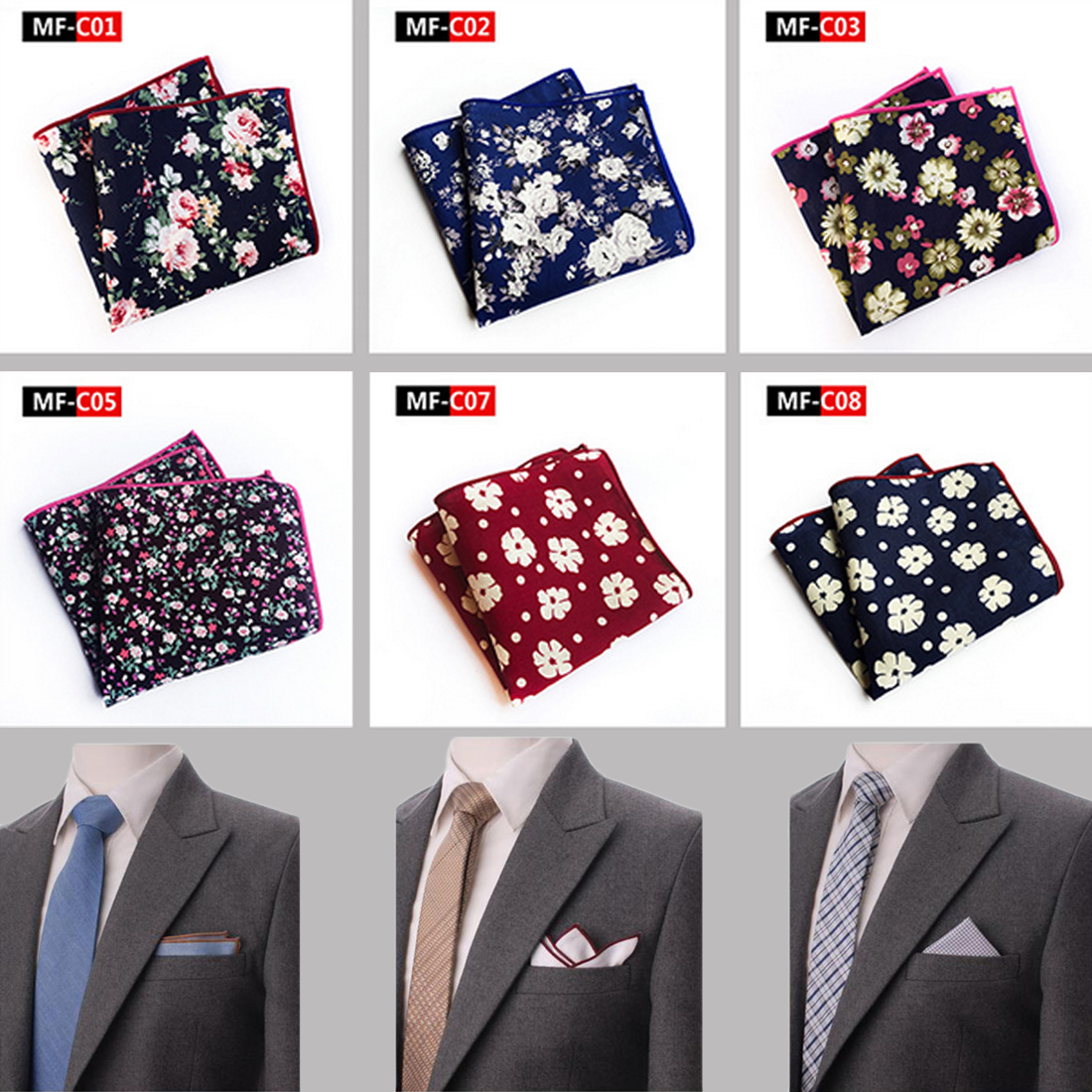 New Men's Cotton Pocket Square Western Style Floral Handkerchief For Suit Pocket Wedding Square Paisley 25x25cm