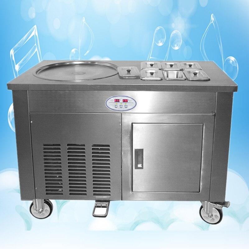 stainless steel  one pan 2 compressors with 6 bins fy ice cream roll machine ,fry yoghurt rolls machine ,ice pan machine big watt 2 8kw hot sale stir 2 pan fry ice cream roll thai freid ice cream machine with 11 boxes