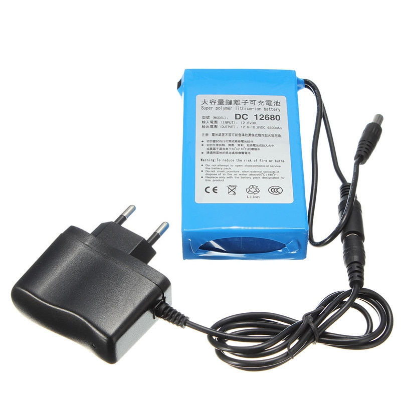 DC 12V 6800mAh Super Power Portable Li-ion Rechargeable Battery Pack + EU Plug mppt 40a 4210a solar charge controller 12v 24v automatic conversion lcd display max 100v regulator pc communication mobile