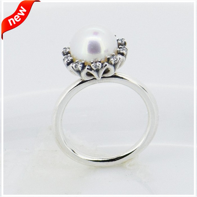 Fits European Jewelry CKK 925 Sterling Silver Rings for Women DIY Jewelry Making White Freshwater Cultured Pear Ring FLR15030
