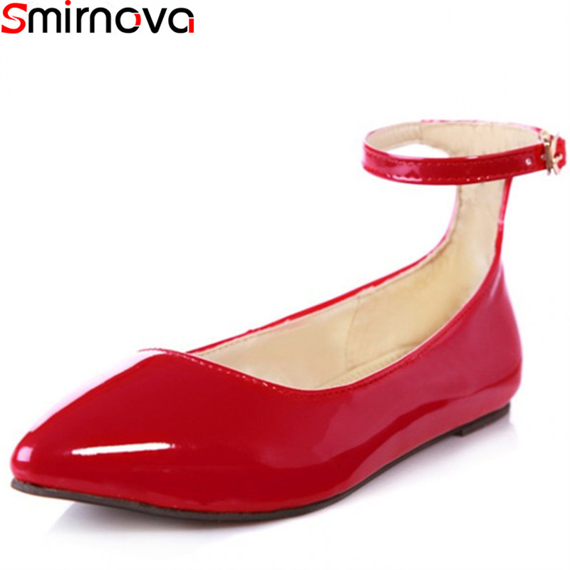 Smirnova 2018 fashion spring autumn flat shoes woman pointed toe buckle casual patent leather women flats red (China)