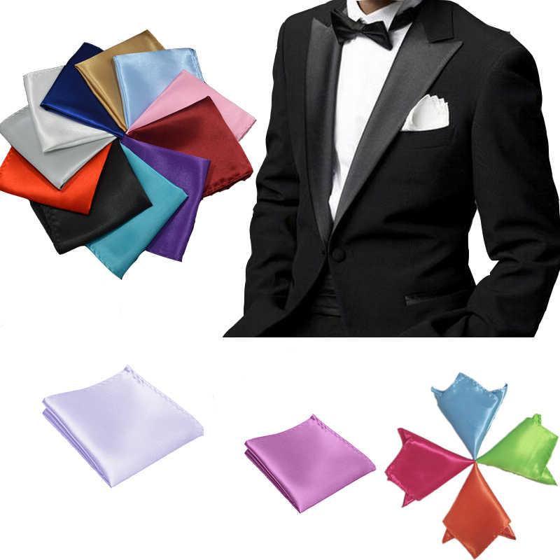 Cavalheiro masculino clássico cetim gravata borboleta puro bolso quadrado para festa de casamento estilo fácil preto vermelho rosa