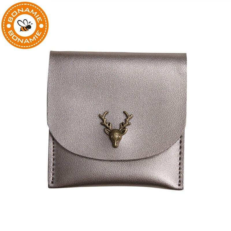BONAMIE Retro Minimalist Wallets Lady Small Solid Leather Female Clutch Short Wallet Deer Girls Coins Purse Card Holder Woman