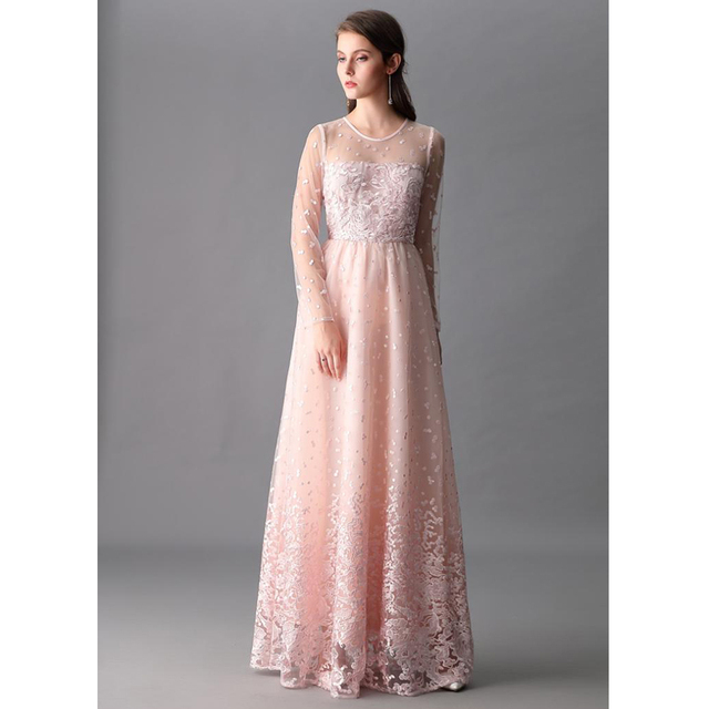 75f3685e5fd5 pink floral embroidery princess dresses see through long sleeve round neck  floor length ladies maxi dresses