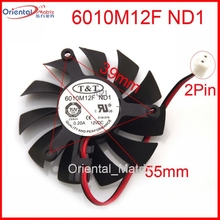 Бесплатная доставка Новый 6010M12F ND1 12 В 0.20A 55 мм 39*39*39 мм графика/видеокарты VGA кулер вентилятор 2 провода 2Pin