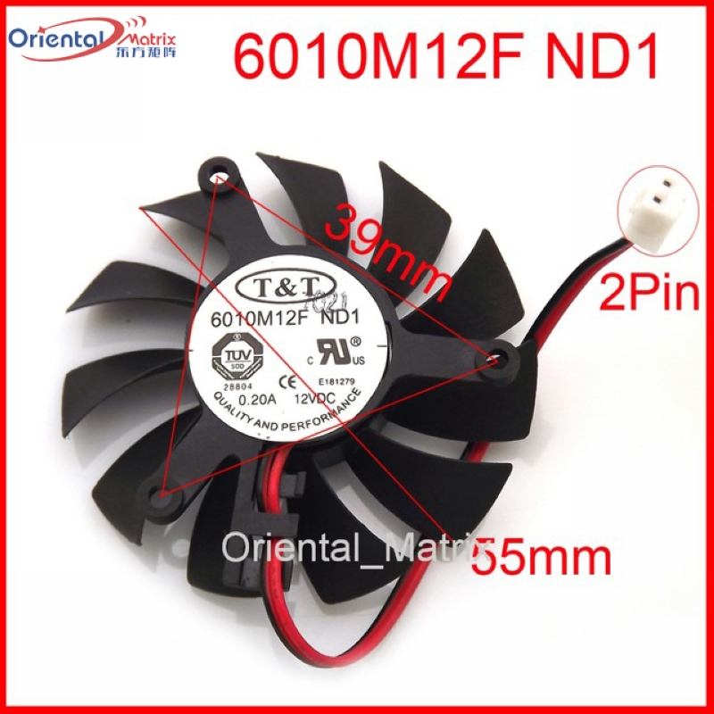Livraison Gratuite Nouveau 6010M12F ND1 12 V 0.20A 55mm 39*39*39mm Graphique/Carte Vidéo VGA Cooler Fan 2wire 2 Broches