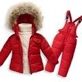 Conjuntos Dos Bebés Meninas Para Baixo Jaqueta Geral 2016 Roupa de Crianças de Inverno conjuntos de 1 Com Capuz Jaqueta Casaco + 1 Para Baixo Macacão 2 Pcs 12M-5A GC36