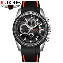 Relogio Masculino LIGE Men Sport Quartz Watch Luxury Brand Waterproof Military Mens Watches Silicone Multi-function dial Watch цена и фото