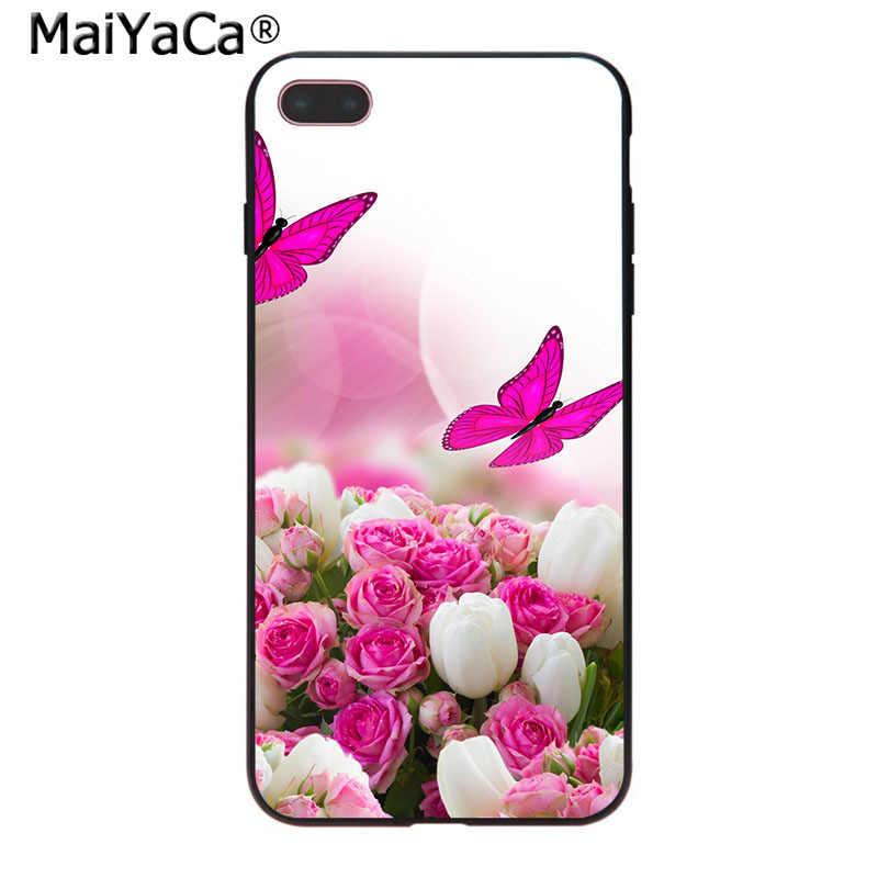 MaiYaCa czerwony motyl na białe róże rysunek z kwiatami TPU etui na telefon dla iPhone 8 7 6 6S Plus X 10 5 5S SE 5C Coque Shell