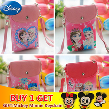 Disney Cartoon Princess Messenger Bag PU Leather Cute Mini Handbag Women Frozen Elsa Anna Plush Backpack