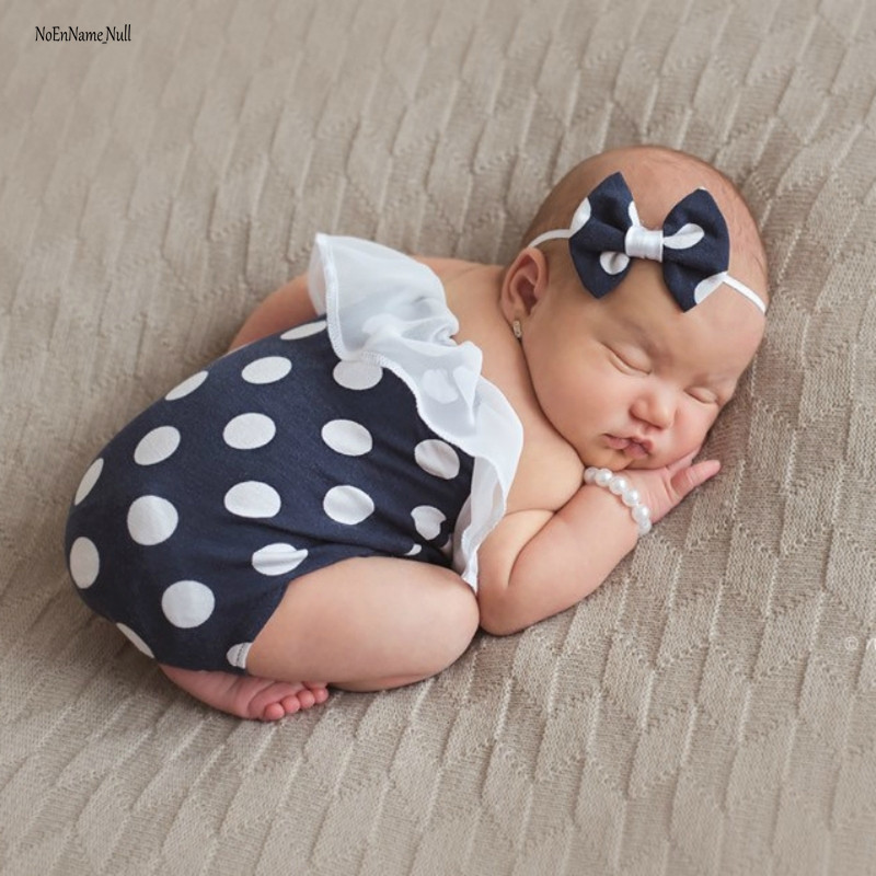 NoEnName-Null Newborn Polka Dot Romper Photo Props Set Cotton Infant Baby Shooting Outfits