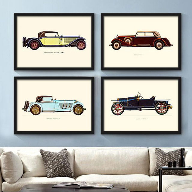 America Style Home Decor Canvas Painting Classical Antique Cars Wall ...