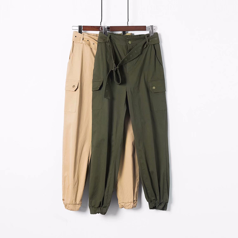 2018 New Fashion High Waist Ankle-Length Women Pants Solid Color HIgh Quality Cargo Pants D085