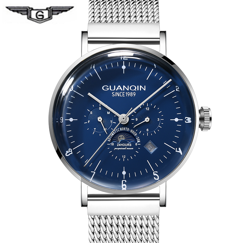 Fashion Multifunction Mechanical Watches men GUANQIN 2019 Automatic Watch men Calendar 3D Curve Mirror Milanese Strap