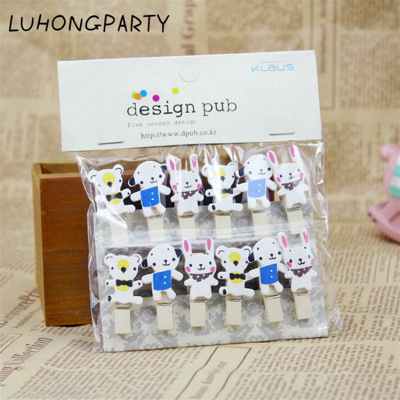 12PCS Little Dog Rabbit Bear Lovely Wooden Clothespin Office Supplies Photo Craft Clips DIY Clothes Paper Peg Party Decoration
