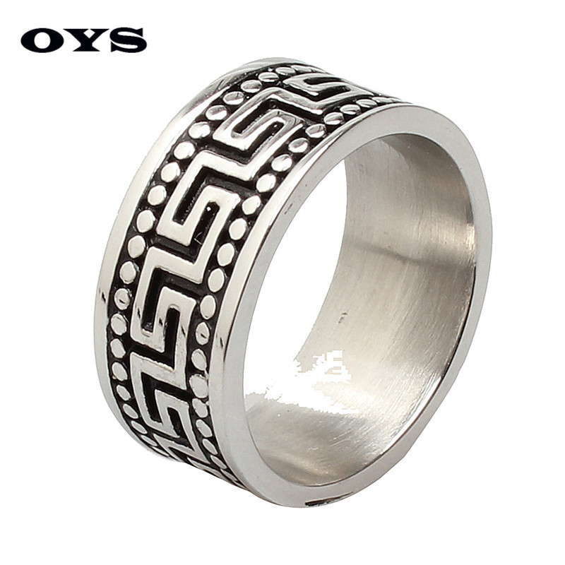 New Style 10MM Retro Titanium Band Great Wall Pattern Party Stainless Steel Solid Ring for Men Wholesale