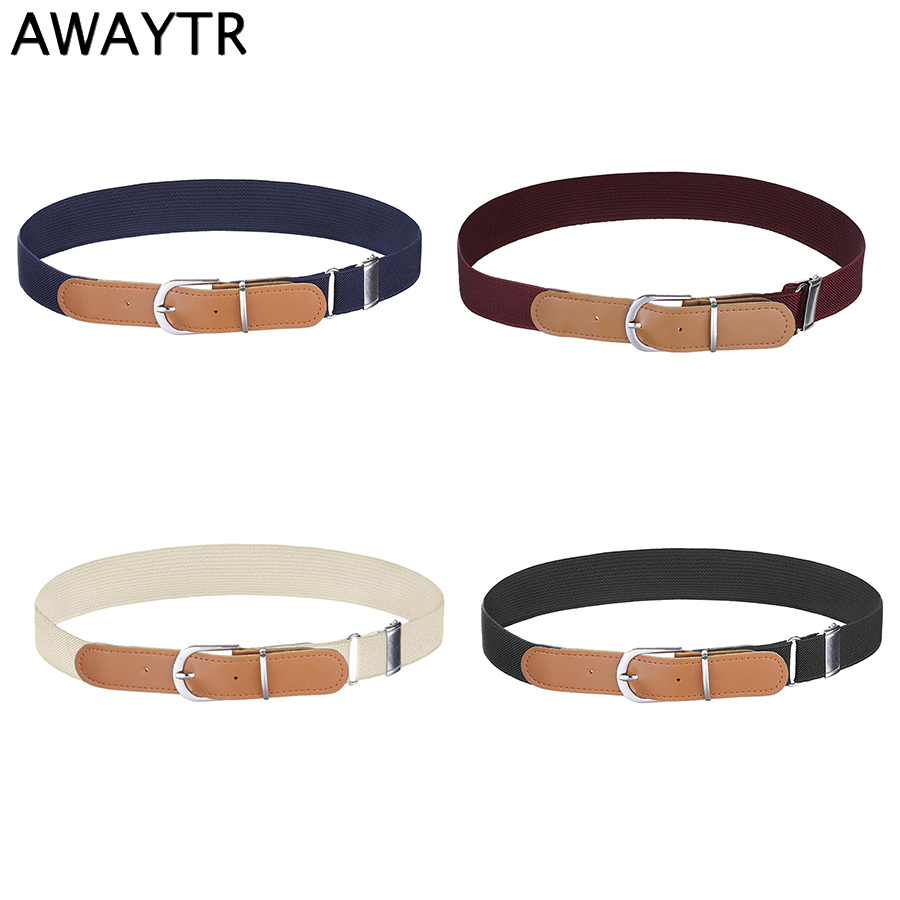 AWAYTR New Canvas Elastic Belt For Kids Alloy Pin Buckle Stretch Belt For Boys Girls PU Splice Waistband Straps Adjustable Belt