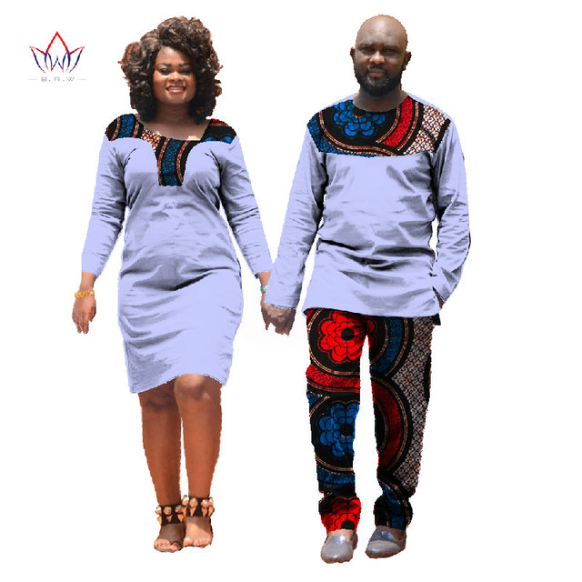 Fall African Clothes For Lovers Dresses for Women Mans Clothing Couple 2  PiecesAnd Dress Split Joint Color8 q08