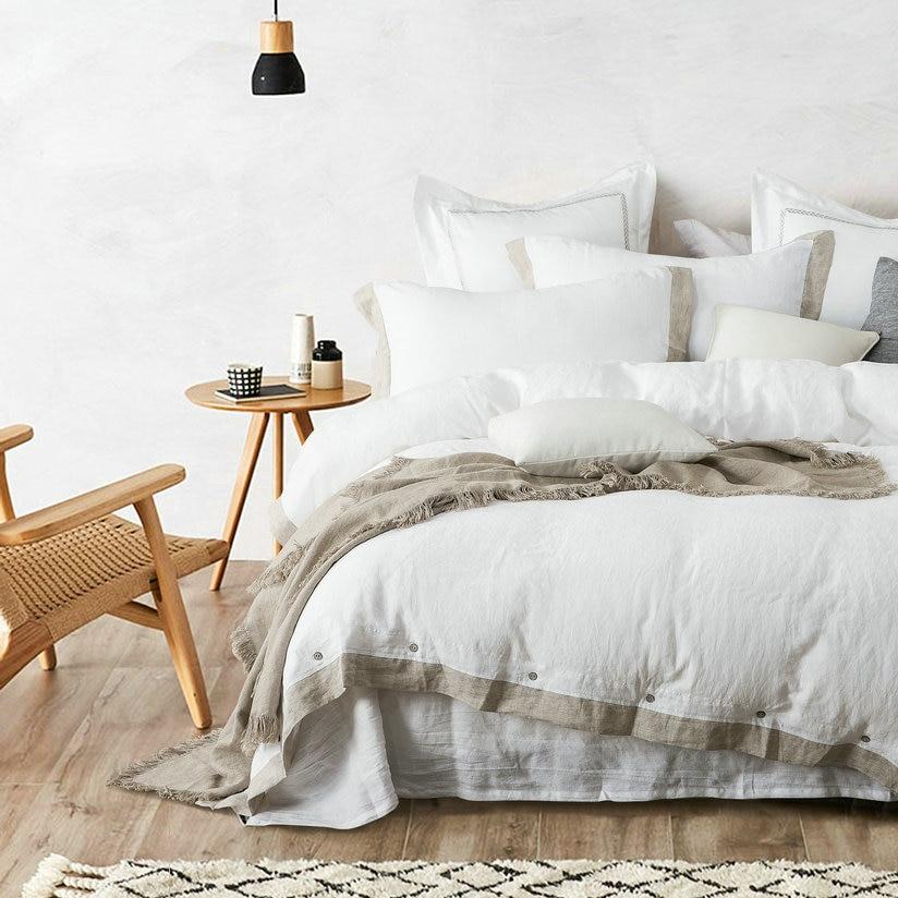 flax edge 100 French Linen Duvet Cover Linen Bed sets 3pcs lot Pink Linen Quilt cover