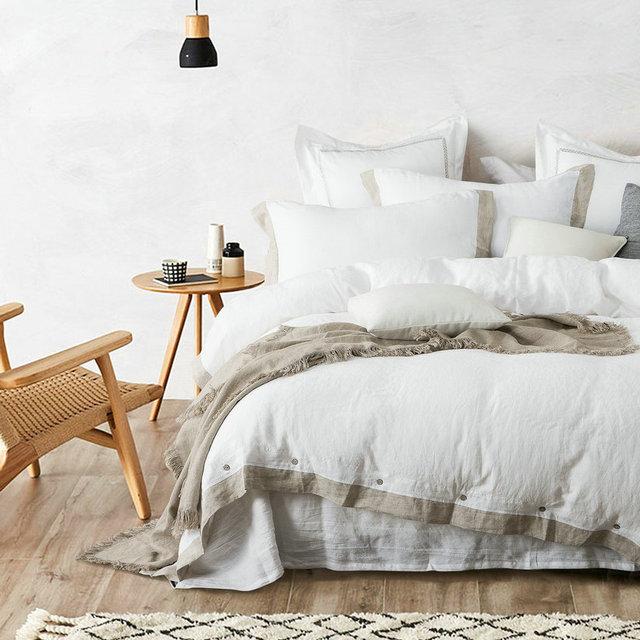 flax edge 100% French Linen Duvet Cover Linen Bed sets 3pcs/lot  Pink Linen Quilt cover