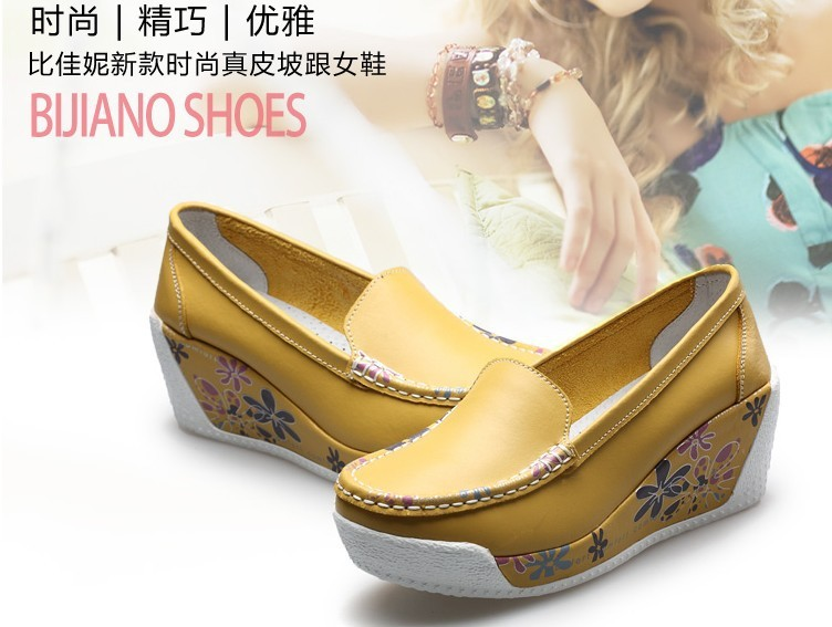 2014 women s shoes fashion swing shoes genuine leather wedges shoes women s platform single shoes