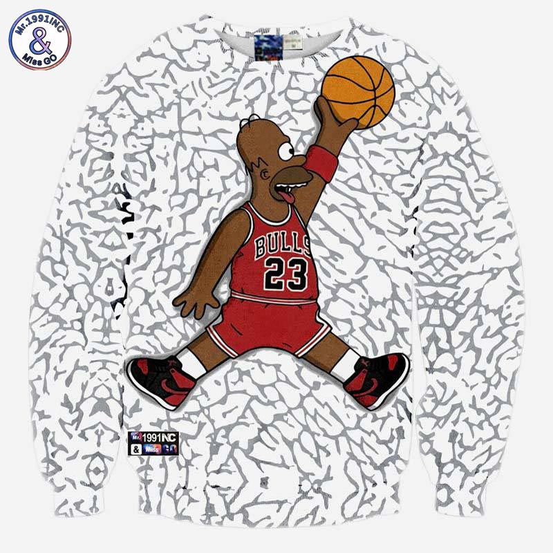 Mr.1991INC Funny sweatshirts men/women's hoodies funny print Number 23 cartoon character playing 3d 3d sweatshirts