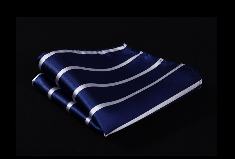 HS702V Blue Stripe Men 100% Silk Party Handkerchief Pocket Square Hanky