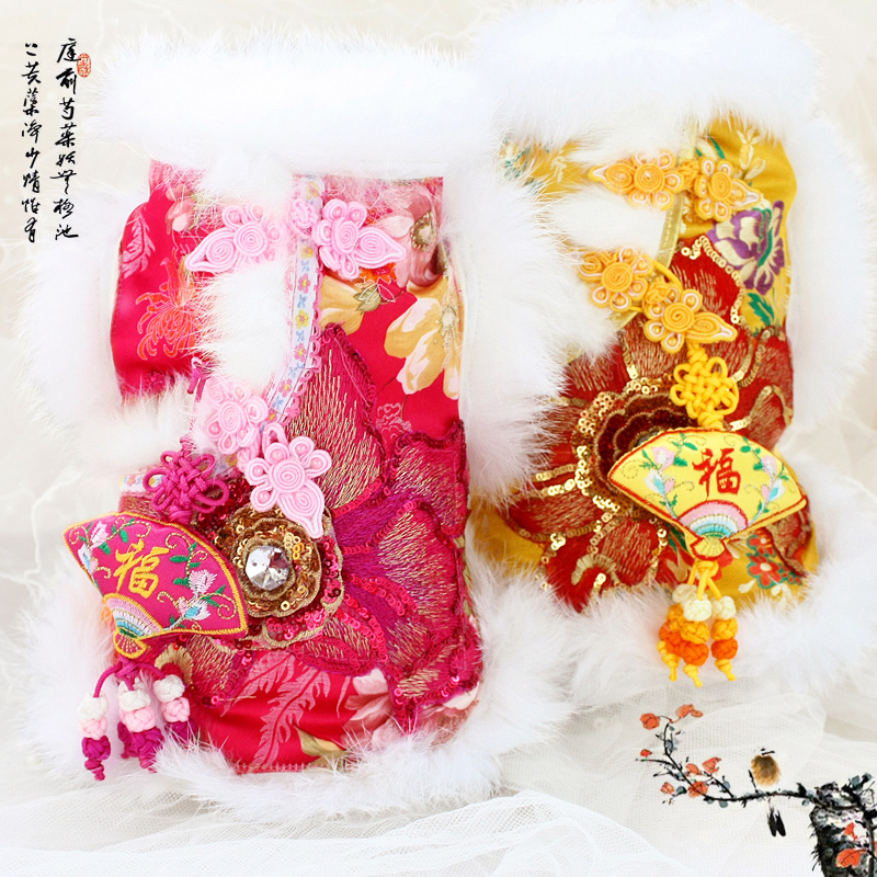Free shipping handmade hight quality abundance of hair gorgeous fur brocade jacket dog coat for winter spring pet clothes