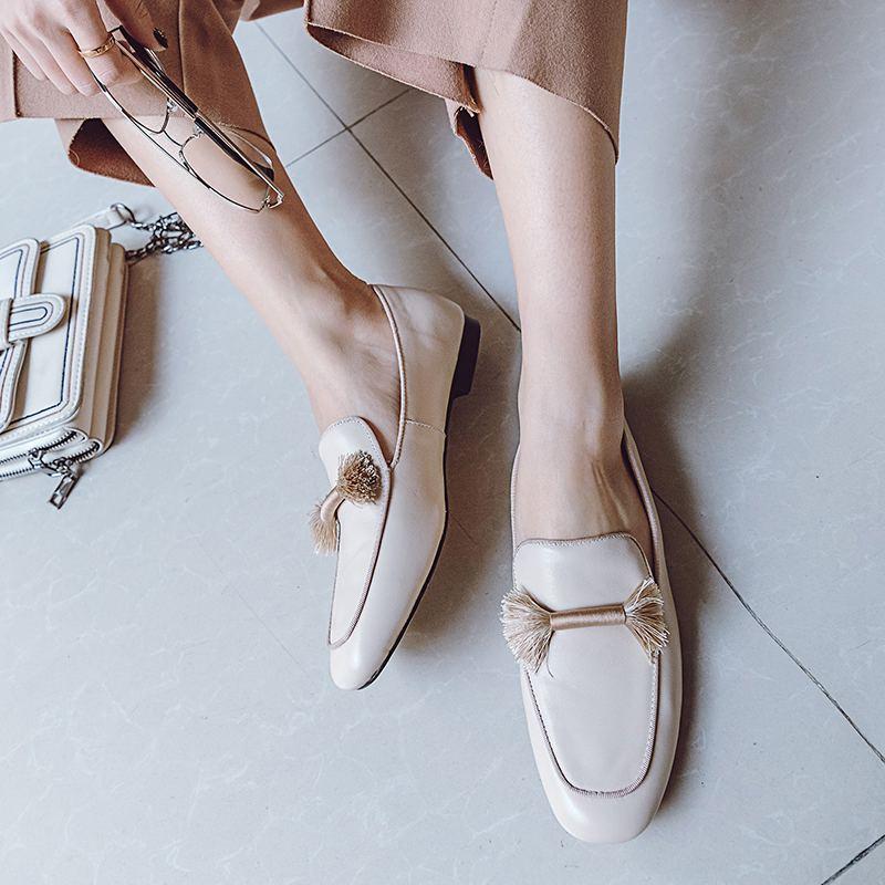 Ayakk.'ten Kadın Topuksuz Ayakkabı'de Krazing Pot 2019 hakiki deri makosenler yuvarlak ayak üzerinde kayma kadınlar flats saçak ofis lady bahar marka tatlı rahat ayakkabılar L49'da  Grup 2