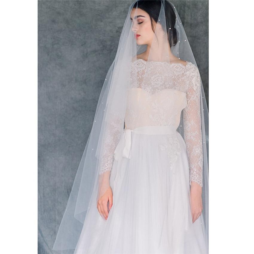 2019 Long Bridal Wedding Veils Pearls Starry Galaxy White Ivory Tulle Veil Bride Voiles Mariage Velo De Novia Longue Perles