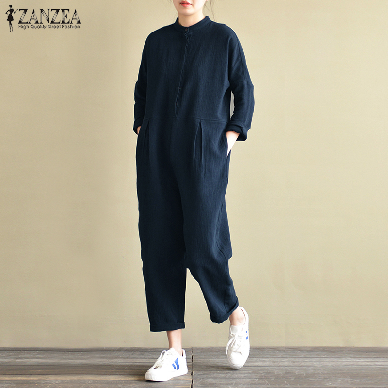 2018 ZANZEA Vintage Linen   Jumpsuits   Women Stand Collar Long Sleeve Rompers Female Pockets Casual Solid Overalls Oversized Pants