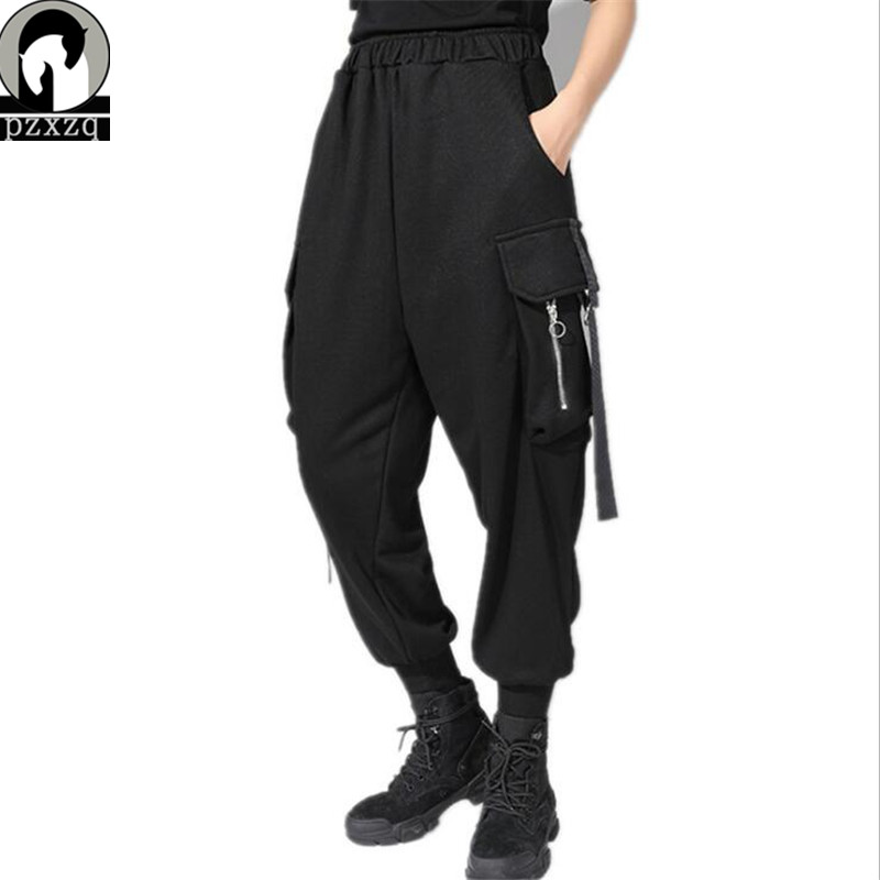 2019 Hip hop Streetwear Cargo Pants Women Casual Joggers Black High Waist Loose Female Trousers sports Style Ladies Pants Capri